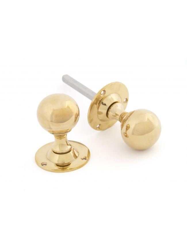 Polished Brass Ball Mortice Knob Set
