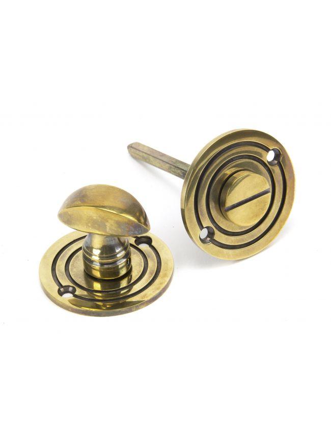 Aged Brass Round Bathroom Thumbturn