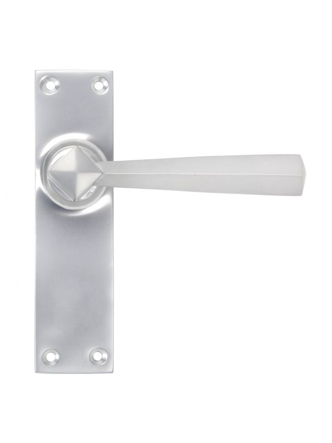 Satin Chrome Straight Lever Latch Set