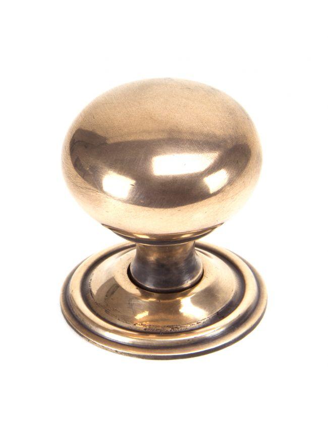 Polished Bronze Mushroom Cabinet Knob 38mm