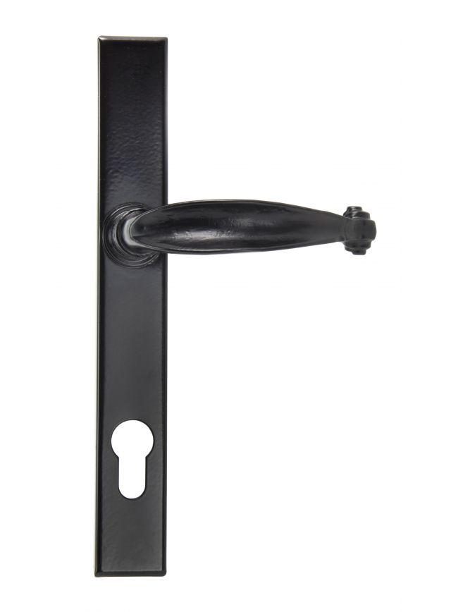 Black Cottage Slimline Lever Espag. Lock Set