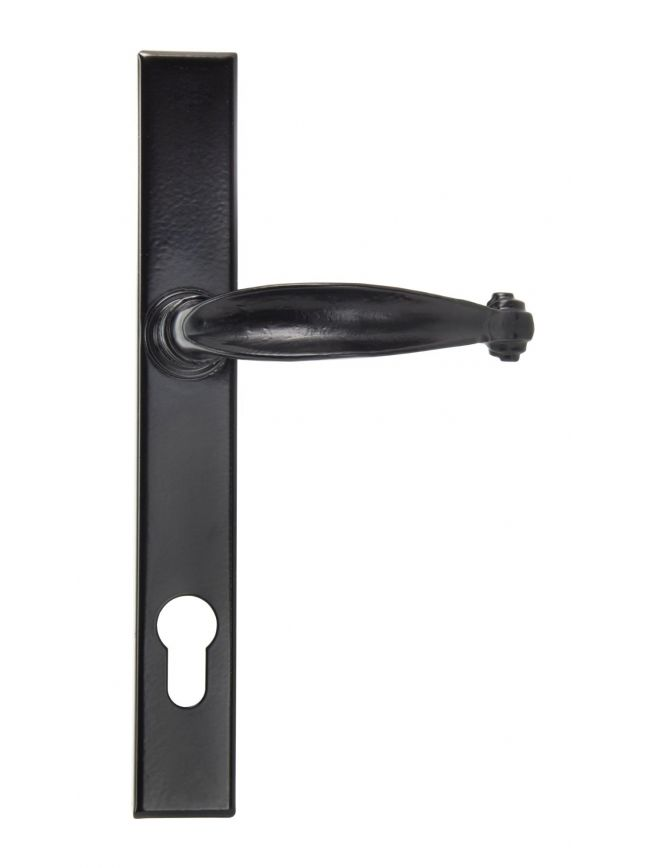 Black Cottage Slimline Lever Espag. Lock Set