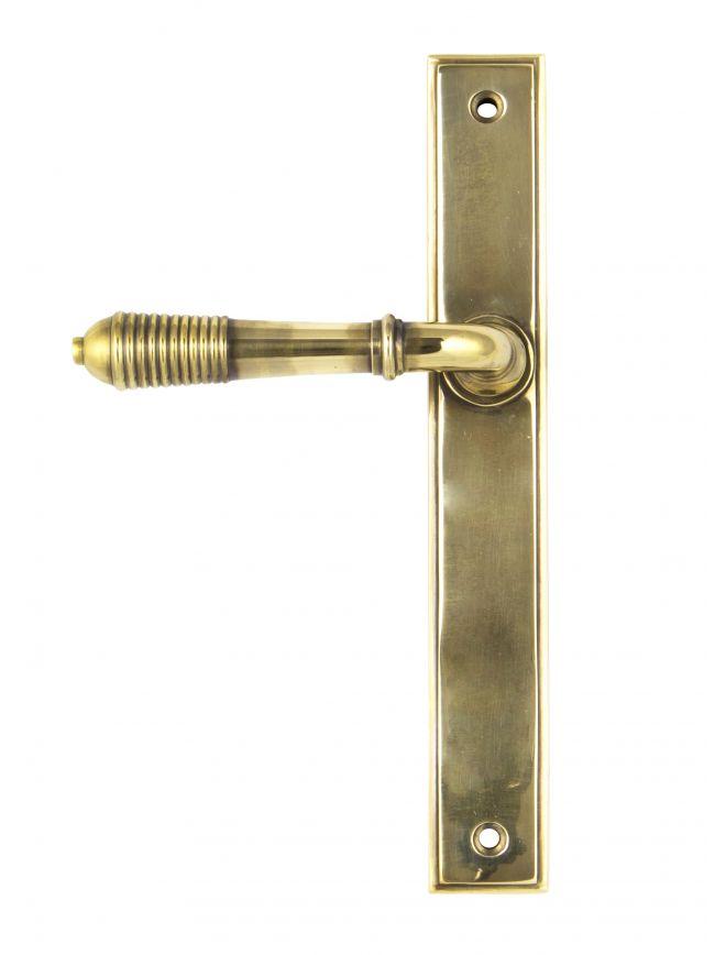 Aged Brass Reeded Slimline Lever Latch Set