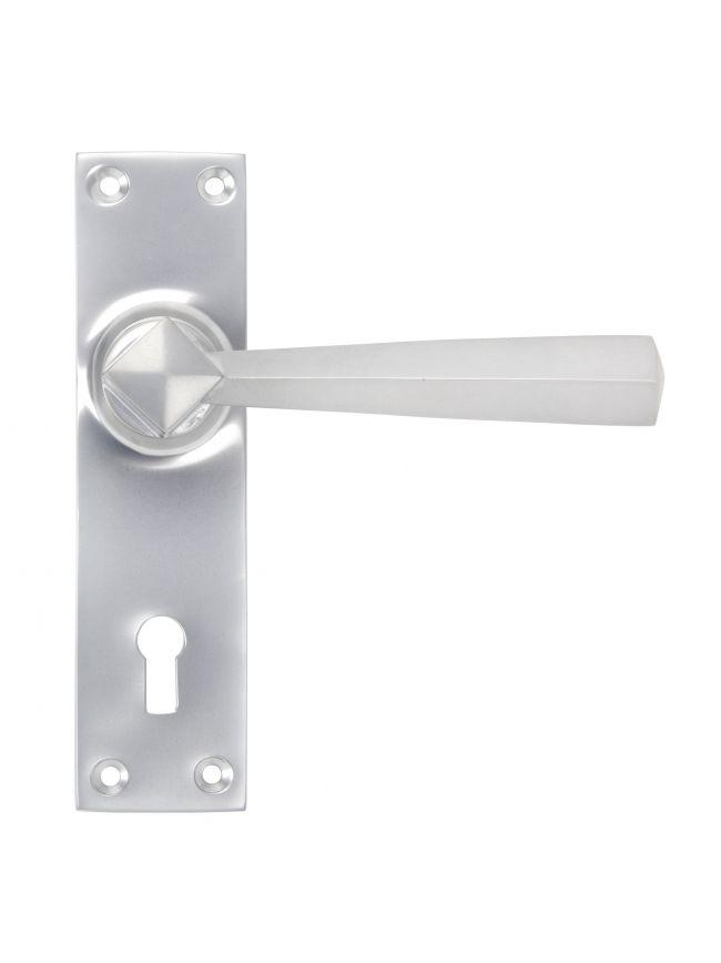Satin Chrome Straight Lever Lock Set