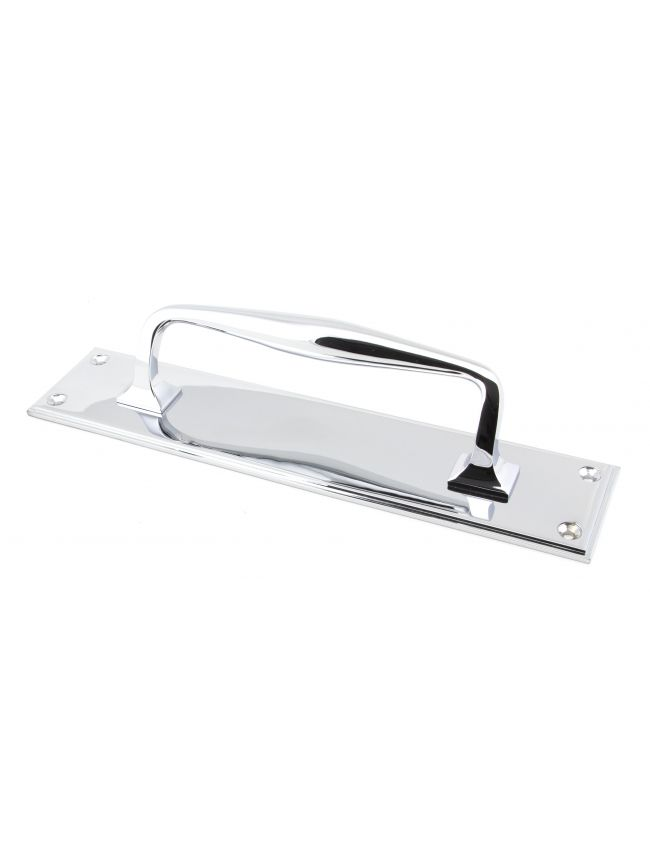 Polished Chrome 300mm Art Deco Pull Handle on Backplate