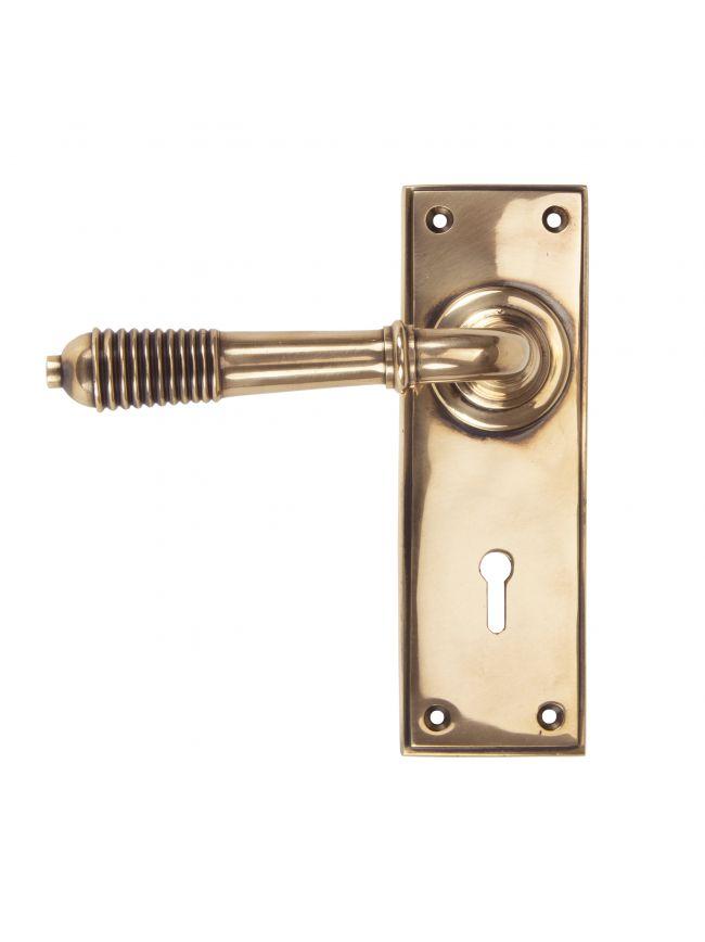 Polished Bronze Reeded Lever Lock Set