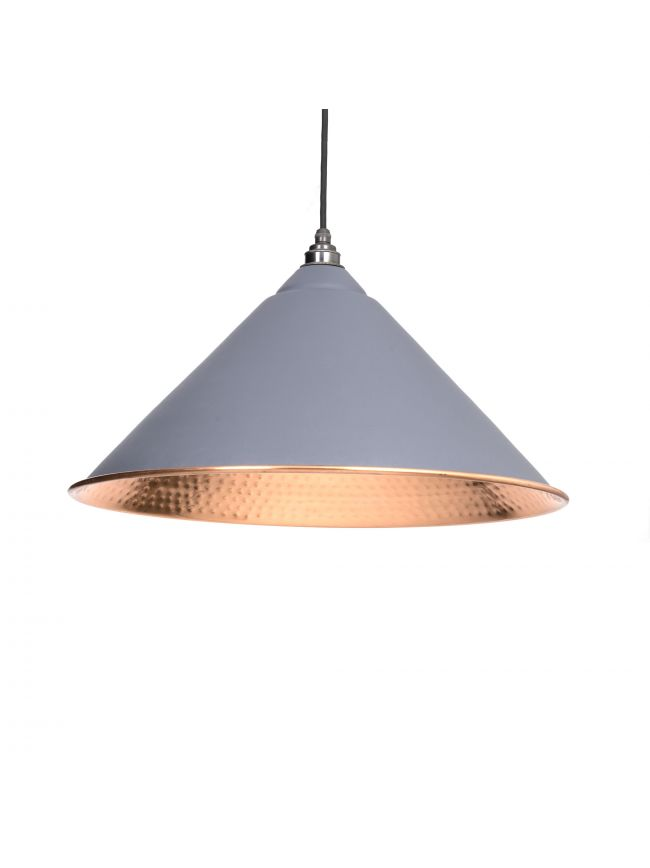 Dark Grey Hammered Copper Hockley Pendant