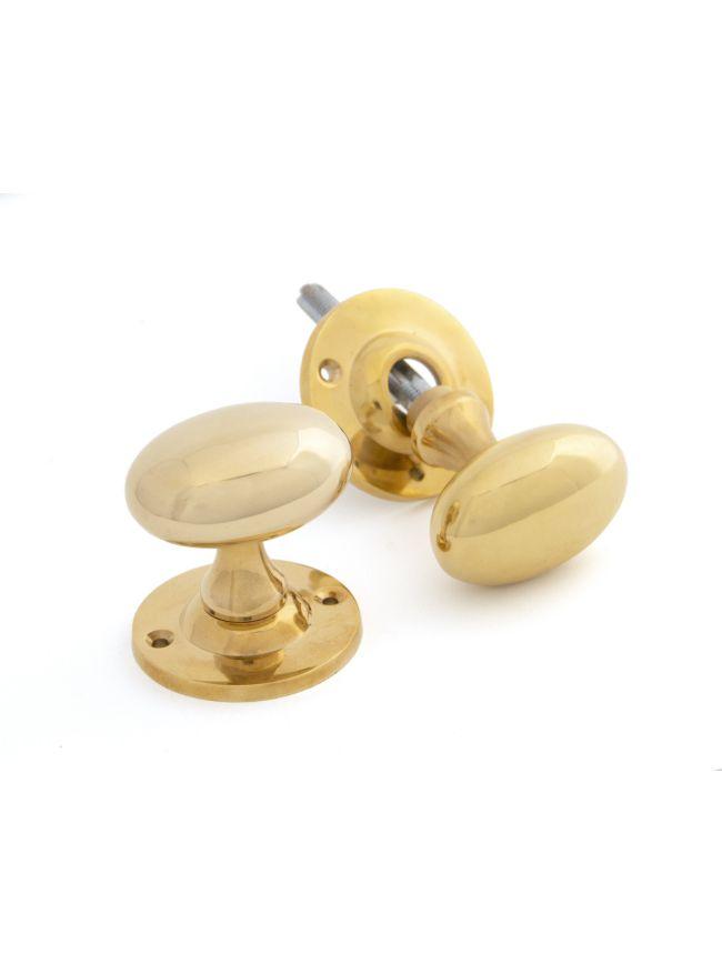 Polished Brass Oval Mortice/Rim Knob Set