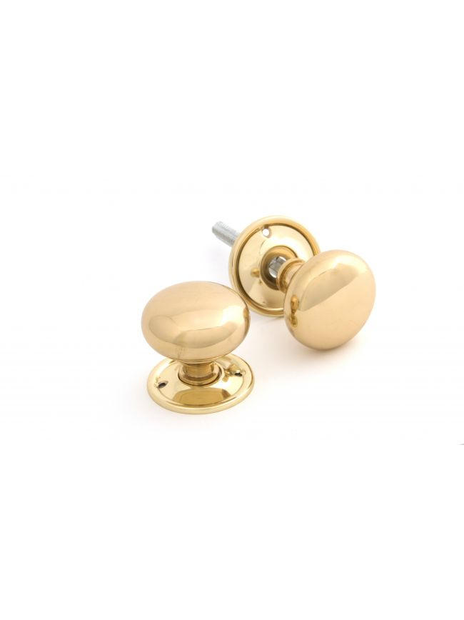 Polished Brass Mushroom Mortice/Rim Knob Set