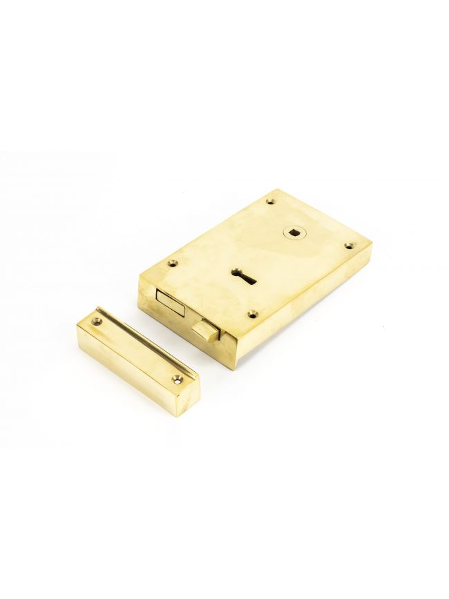 Polished Brass Right Hand Rim Lock - Large