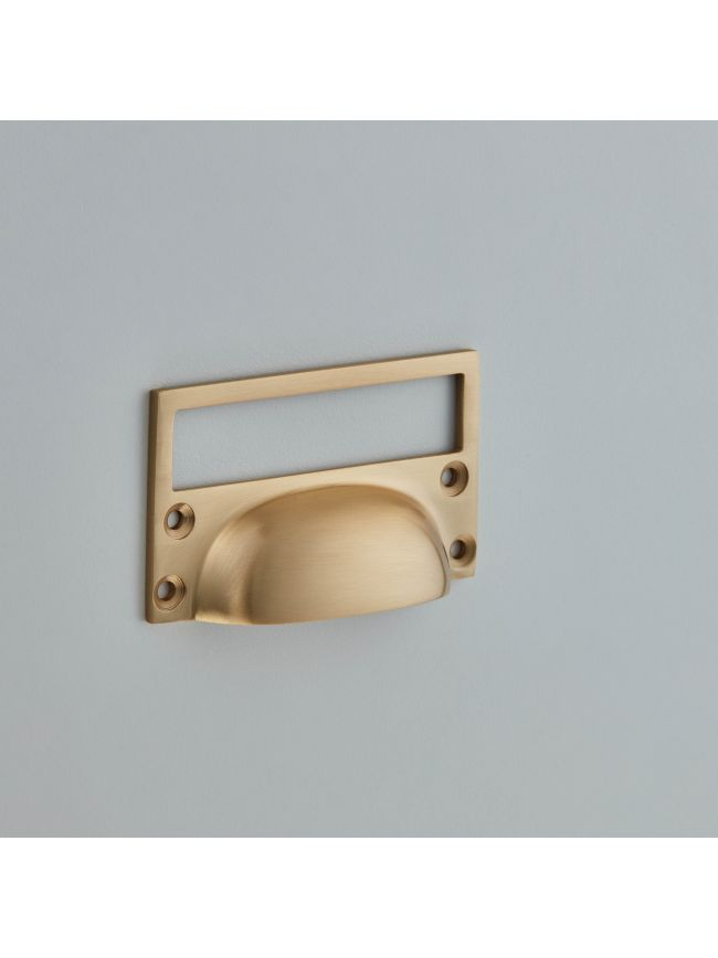 1822 Cast Drawer Pull with Card Frame