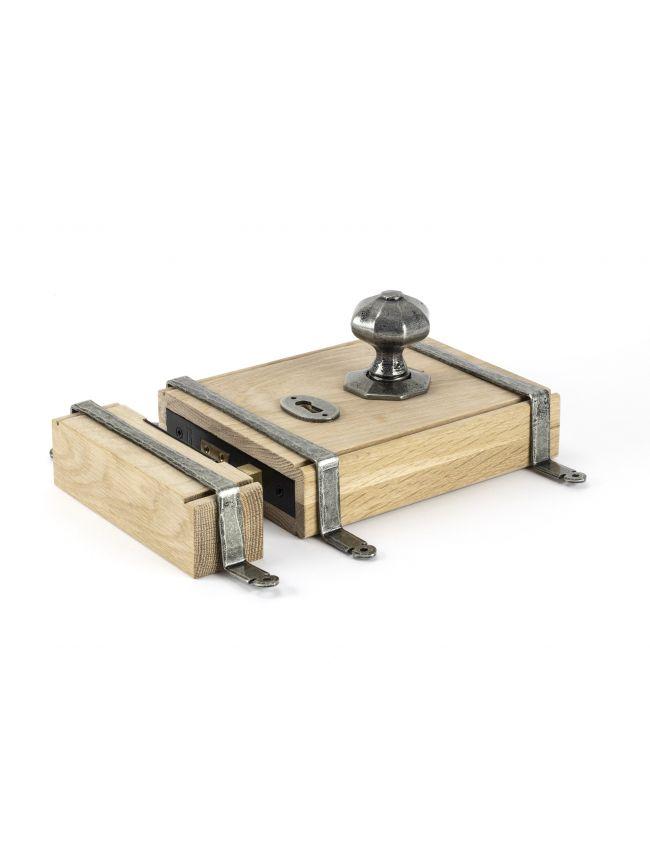 Pewter Oak Box Lock & Octagonal Knob Set