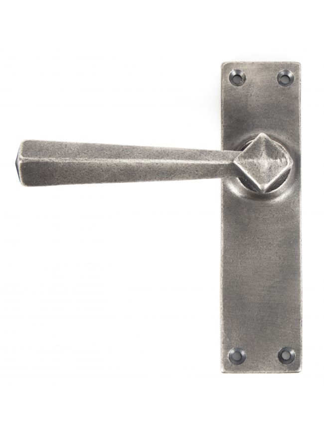 Antique Pewter Straight Lever Latch Set