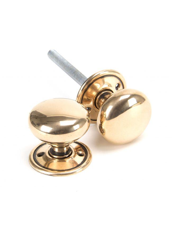 Polished Bronze Mushroom Mortice/Rim Knob Set