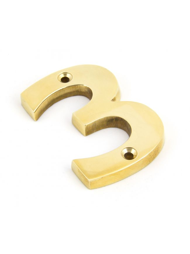 Polished Brass Numeral 3