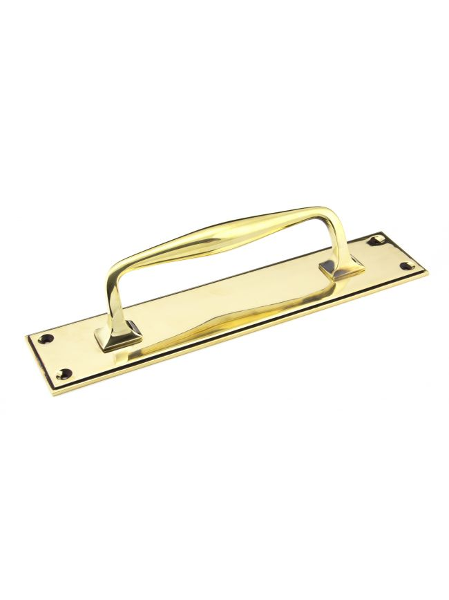Aged Brass 300mm Art Deco Pull Handle on Backplate