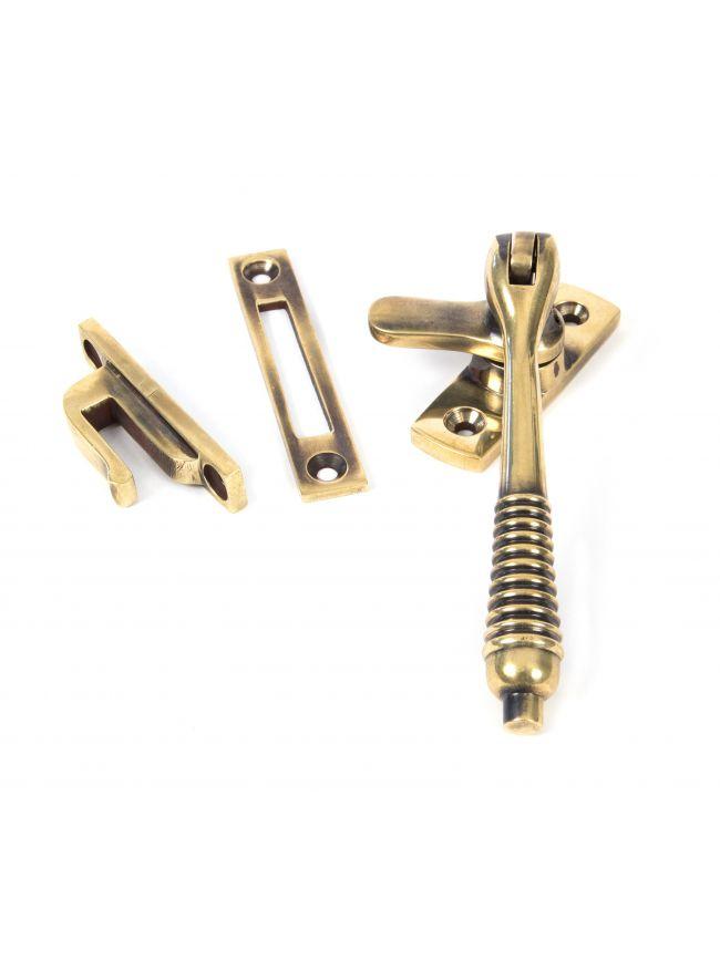 Aged Brass Locking Reeded Fastener