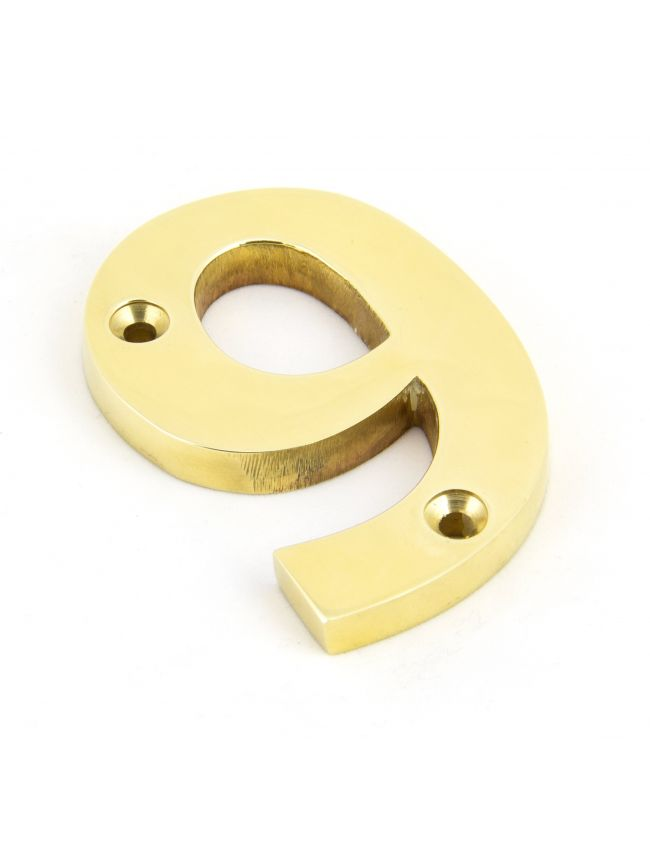 Polished Brass Numeral 9