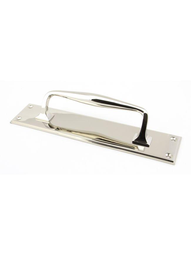 Polished Nickel 300mm Art Deco Pull Handle on Backplate